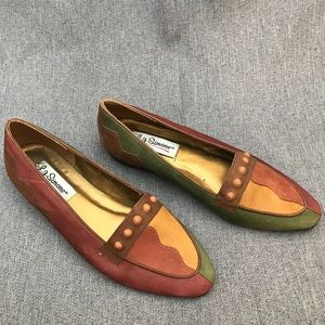 Vintage Earthtones Colorblock 90s Leather Loafers